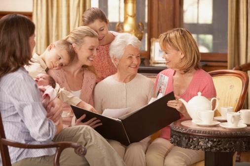famille regarde album photo pas cher