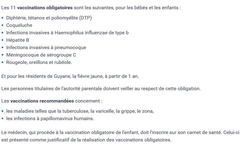 Liste de vaccins du site du service public